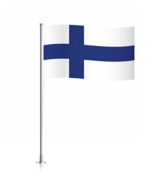 Finland flag waving on a metallic pole vector