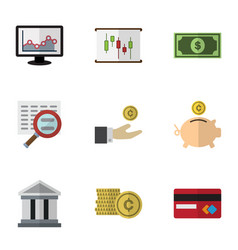 flat icon gain set of cash diagram chart and vector image vector image