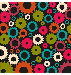 Gear silhouettes pattern of dark colors on black b vector