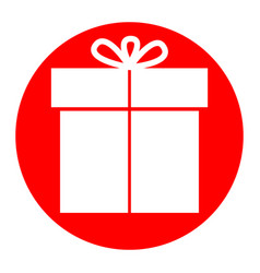 gift sign white icon in red circle on vector image