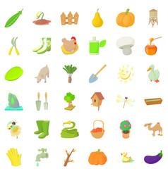Good farm icons set cartoon style vector