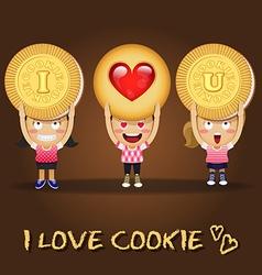 happy people carrying big butter cookies vector image vector image