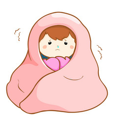 Ill girl shivering hard under blanket vector