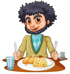Man eating meal on the table vector image
