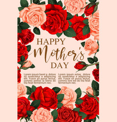 Mother day greeting card with frame of rose flower vector