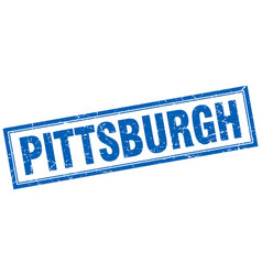 Pittsburgh blue square grunge stamp on white vector