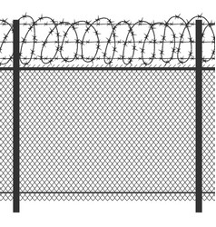 Prison privacy metal fence with barbed wire vector
