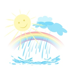 Rainbow sun rain landscape vector image