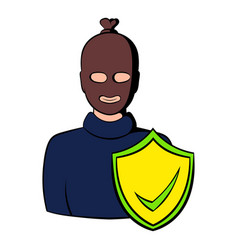 Robbery insurance icon cartoon vector
