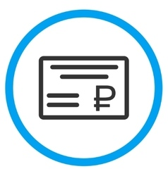 Rouble cheque icon vector