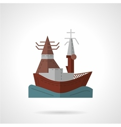 Sea port flat color icon vector image vector image