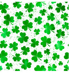 Seamless pattern with green watercolor clover vector