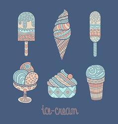 Set of artistic icecreams vector