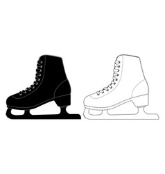 skate flat black and white icons vector image