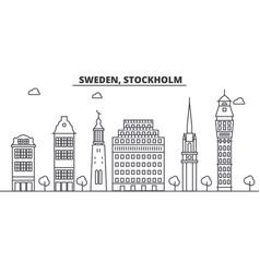sweden stockholm architecture line skyline vector image