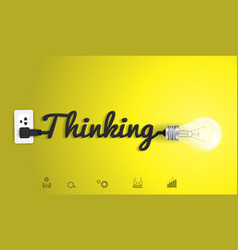 Thinking concept with creative light bulb idea vector image vector image