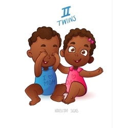 Twins horoscope sign Two cartoon african american vector image