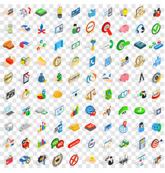 100 successful icons set isometric 3d style vector