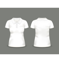 Womens white polo shirt short sleeve vector