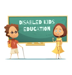 Education of disabled kids vector