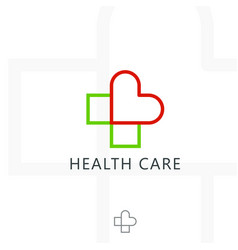 cross plus heart medical logo icon design vector image