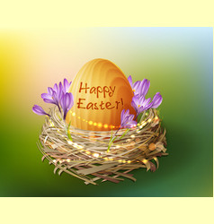 vintage easter egg in a wicker nest vector image