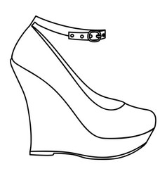 monochrome silhouette of high heel platform shoe vector image