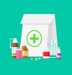 Medical tablets bottles pills in a flat style vector