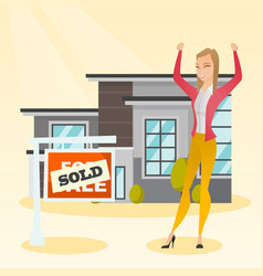 Real estate agent with sold placard vector