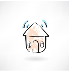 House with sound grunge icon vector