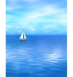 Yacht Blue Sea Landscape vector image