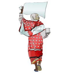 An african woman with a sack of flour on his head vector