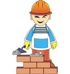 Builder man is building a brick wall vector image