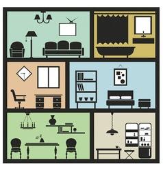 interior furniture icons vector image