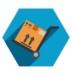 Warehouse trolley flat hexagon icon with long vector