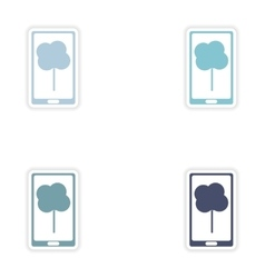 Set paper sticker on white background mobile phone vector image