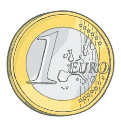 1euro coin sketch vector