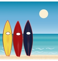 Three surf boards beach holidays extreme sport vector