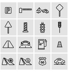 Line road icon set vector
