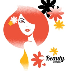 Beautiful girl silhouette in retro style with flow vector image vector image