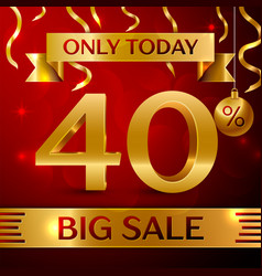 Big sale forty percent for discount vector