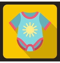 Blue baby bodysuit icon flat style vector image vector image