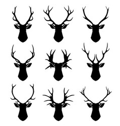 Deer horns reindeer heads silhouettes set vector