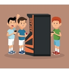 Friends video gaming arcade machine and smartphone vector