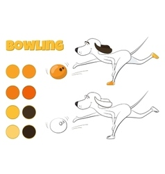 Funny cartoon dog playing bowling Kind of sport vector image vector image