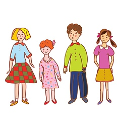 Funny children group cartoon vector image vector image