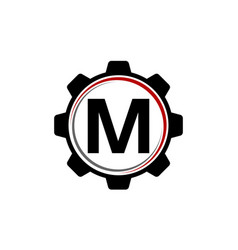 Gear solution logo letter m vector