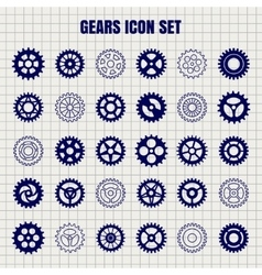 Gears icon set on notebook page vector