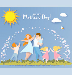 happy mothers day card paper cut style vector image vector image