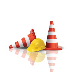 hard cap with traffic cones vector image vector image
